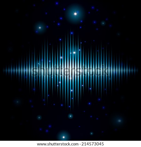Mystic shiny sound sign with sparkles in blurred galaxy - stock vector