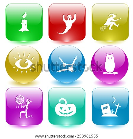 Mystic signs set. Vector set glass buttons. - stock vector