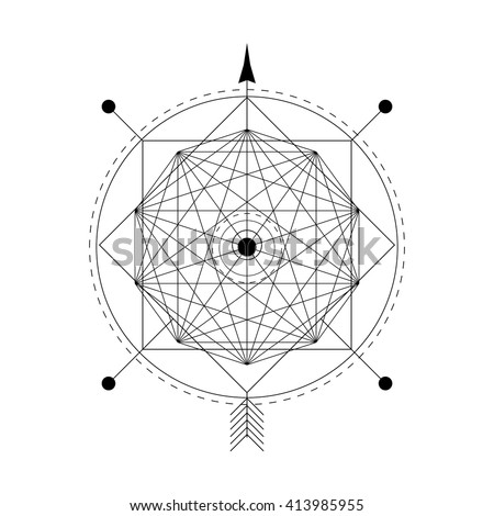 mystical geometry symbol. Linear alchemy, philosophical sign. For the music album cover, poster, flyer, sacramental logo design. Astrology, imagination, creativity, superstition and religion concept. - stock vector