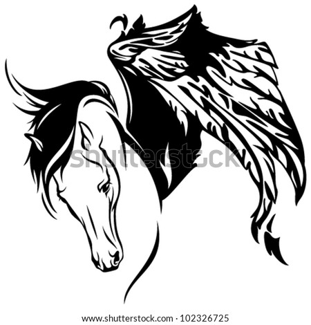 mythical winged horse fine vector illustration - beautiful pegasus - stock vector