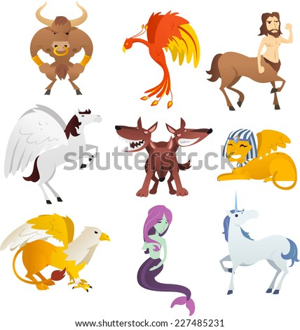 Mythological Creatures and animals, with unicorn, Phoenix, sphinx, centaur, pegasus, bird, cerberus, griffin, pharaoh and Eagle vector illustration. - stock vector