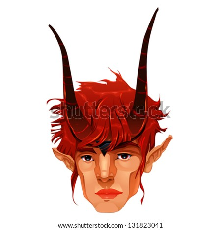 Mythological demon head. Vector isolated illustration. - stock vector