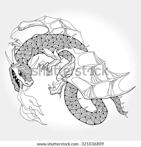 Mythological fire-breathing Dragon isolated on white background. The series of mythological creatures - stock vector