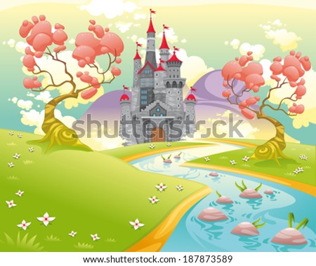 Mythological landscape with medieval castle. Cartoon and vector illustration. - stock vector