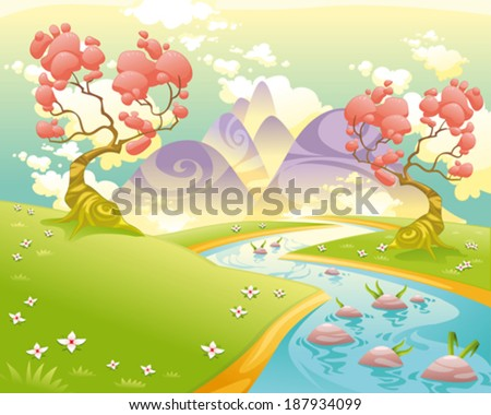 Mythological landscape with river. Cartoon and vector illustration. - stock vector
