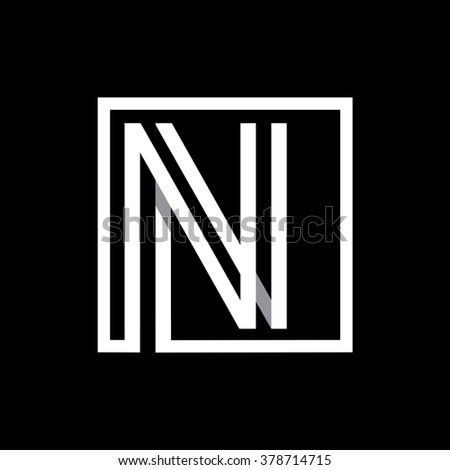 N capital letter enclosed in a square. . Overlapping with shadows monogram, logo, emblem. Trendy design.  - stock vector