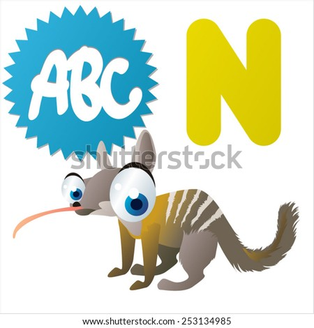N is for Numbat - stock vector
