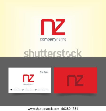 Business card number 2 stock vector 218518714 shutterstock n z joint logo letter design with business card template reheart Images