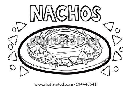 Nachos doodle - stock vector