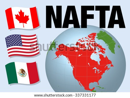 Nafta North American Free Trade Agreement Stock Vector 2018