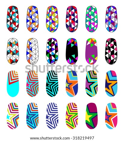Nail art abstract colorful templates manicure stock vector nail art abstract colorful templates manicure design set can be used for false nail prinsesfo Choice Image