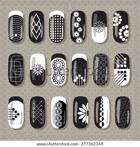 Nail Art Design Black And White A Set Overhead Labels Stickers
