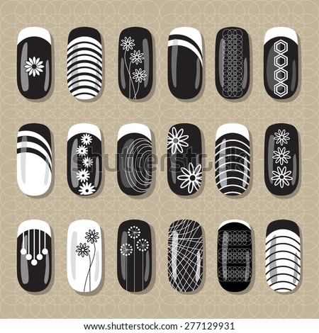 Nail Art Design Black White Ideas Stock Vector Royalty Free