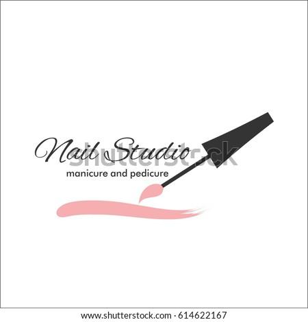 Nail Art Studio Template Logo Stock Vector Royalty Free 614622167