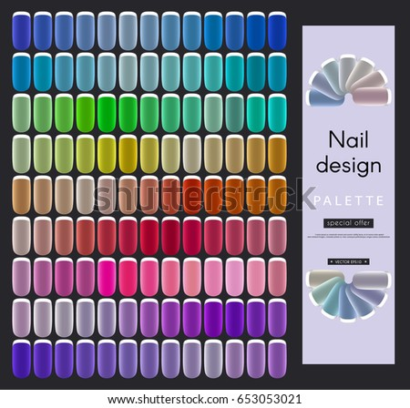 Nail art design set overhead nail stock vector 481516156 nail design palette rainbow a set of samples of color gradients for varnishing prinsesfo Images