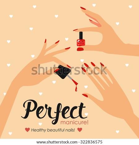 nail health. Banner Care of hands and nails. Nail Design. Brittle nails, nail polish, manicure tools - stock vector