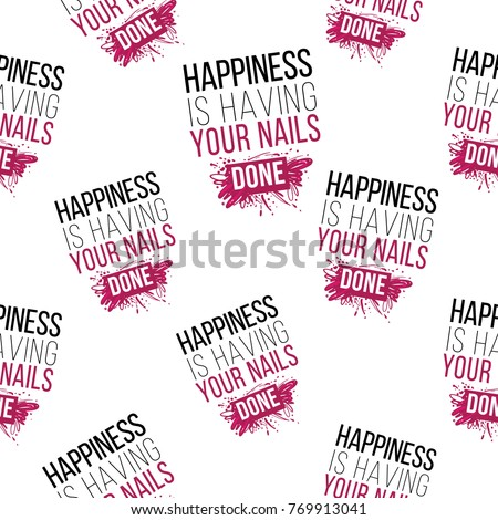 Nail manicure vector seamless pattern happiness stock for Uniform spa vector
