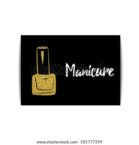 Nail polish banner with golden glitter texture manicure card with