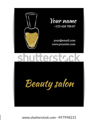Nail polish business card isolated manicure stock vector royalty nail polish business card isolated manicure visit card golden glitter texture with shiny sparkles reheart Choice Image