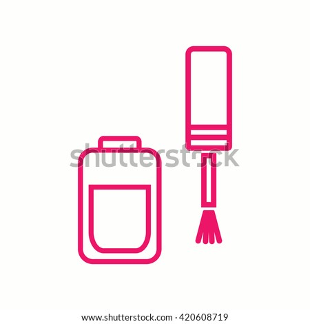 nail polish manicure finger pink thin line icon - stock vector