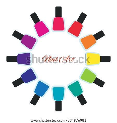 Nail polish women accessories set in a palette. Bright stylish modern colors. Glamour cosmetics. Manicure and pedicure products. Cool bottles in rainbow colors. Vector design illustration.  - stock vector