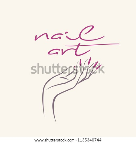 Nail Salon Vector IconWoman Hand With Elegant Polish ManicureLong Nails Logo