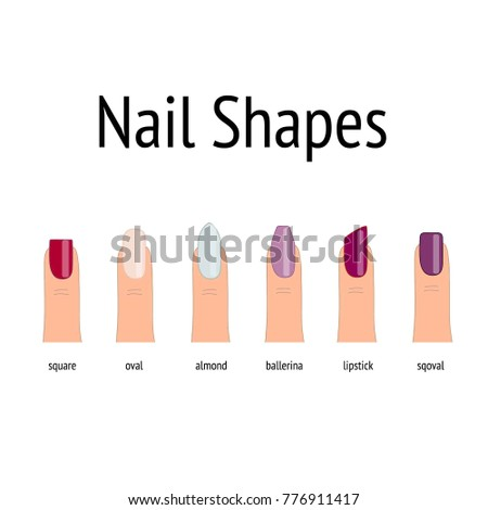 Nails Shape Icons Set Types Of Nail Shapes Type Trends Beauty