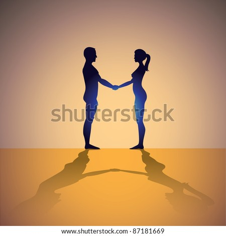 naked man and woman holding hands - silhouette illustration