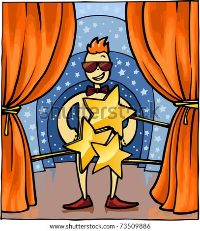 Naked MC covered by the stars on the stage. - stock vector