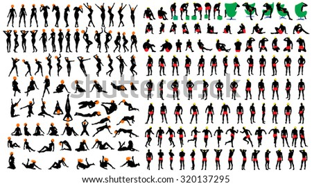 Naked sexy girls and men silhouette set. Very smooth and detailed with color hairstyle.  Vector illustration.     - stock vector