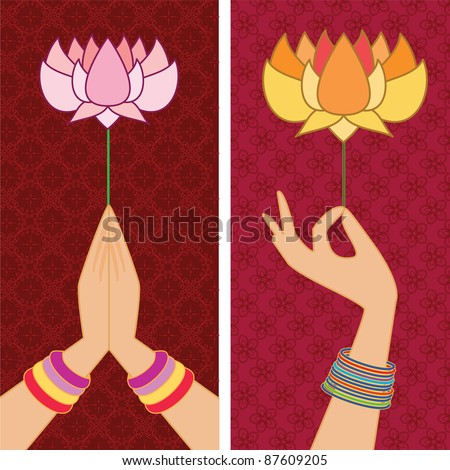 Namaste Hand & Holding Lotus Banner  - Inspired by Indian art henna - Detailed and easily editable - stock vector