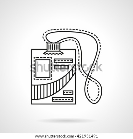 Name badge with lace. ID card with abstract photo and person data. Accessory for reporter, journalist and others. Line style vector icon - stock vector