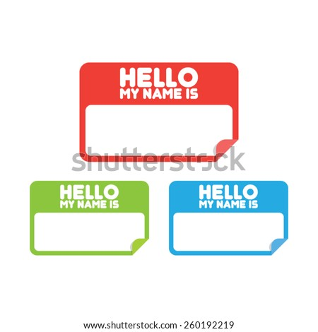 Name Tag Stickers - stock vector
