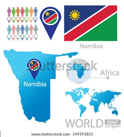 Namibia. flag. map. vector Illustration