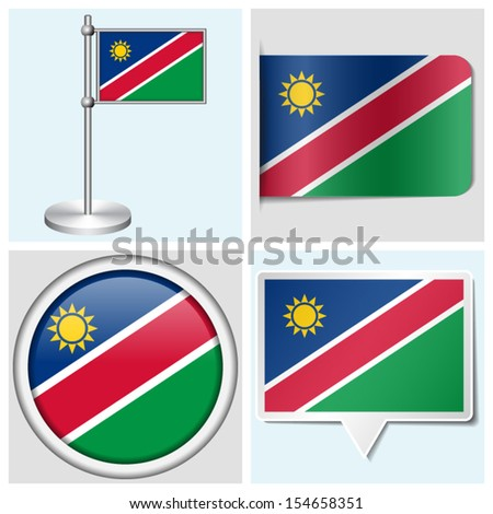Namibia flag - set of various sticker, button, label and flagstaff