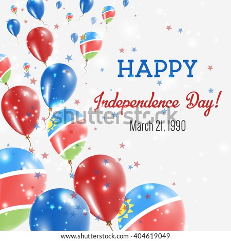 Namibia Independence Day Greeting Card. Flying Balloons in Namibian National Colors. Happy Independence Day Namibia Vector Illustration.