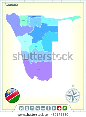 Namibia Map with Flag Buttons and Assistance & Activates Icons Original Illustration - stock vector