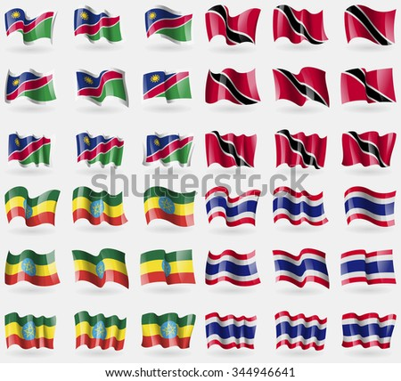 Namibia, Trinidad and Tobago, Ethiopia, Thailand. Set of 36 flags of the countries of the world. Vector illustration