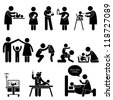 Nanny Mother Father Caring Baby Infant Children Stick Figure Pictogram Icon - stock vector