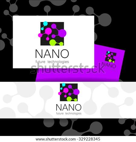 Nano logo - nanotechnology. Template design of logo. Vector presentation. - stock vector