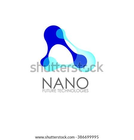 Nanotechnology -Nano logo. Template design of logo. Vector presentation.  - stock vector