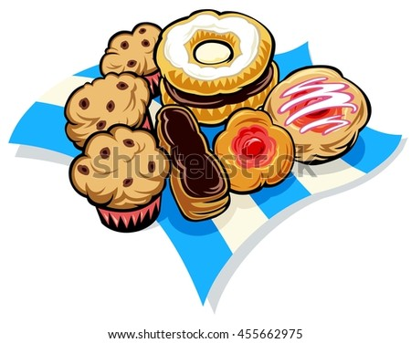 napkin covered with sweet things from the bakery - stock vector