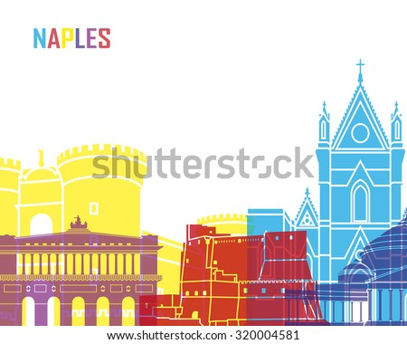 Naples skyline pop in editable vector file - stock vector