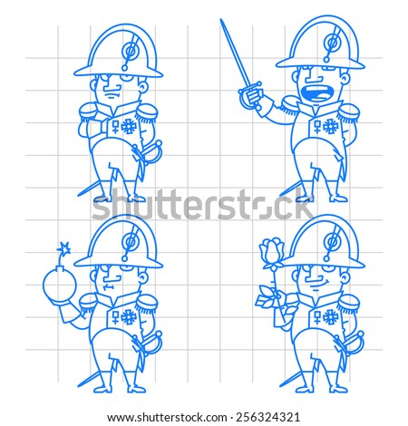 Napoleon Bonaparte character in various poses doodle - stock vector