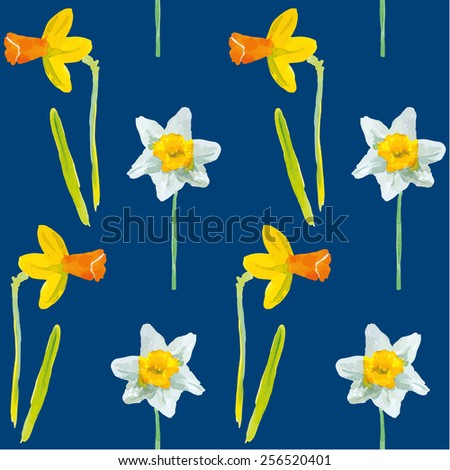 Narcissus or daffodils on the dark blue background. Watercolor seamless pattern with spring flowers.  - stock vector