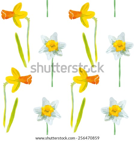 Narcissus or daffodils on the white background. Watercolor seamless pattern with spring flowers. - stock vector