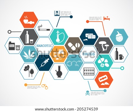 Narcotic drugs infographic - stock vector
