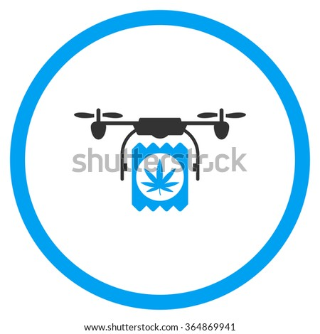 Narcotic Therapy Drone Delivery vector icon. Style is bicolor flat circled symbol, blue and gray colors, rounded angles, white background. - stock vector
