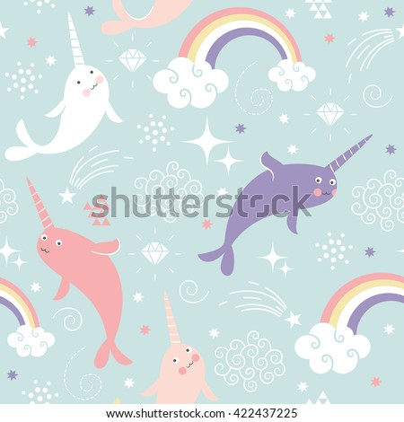 Narwhal Pattern Art Print - stock vector