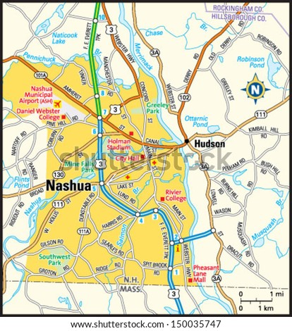 Nashua New Hampshire Area Map Stock Vector 2018 150035747
